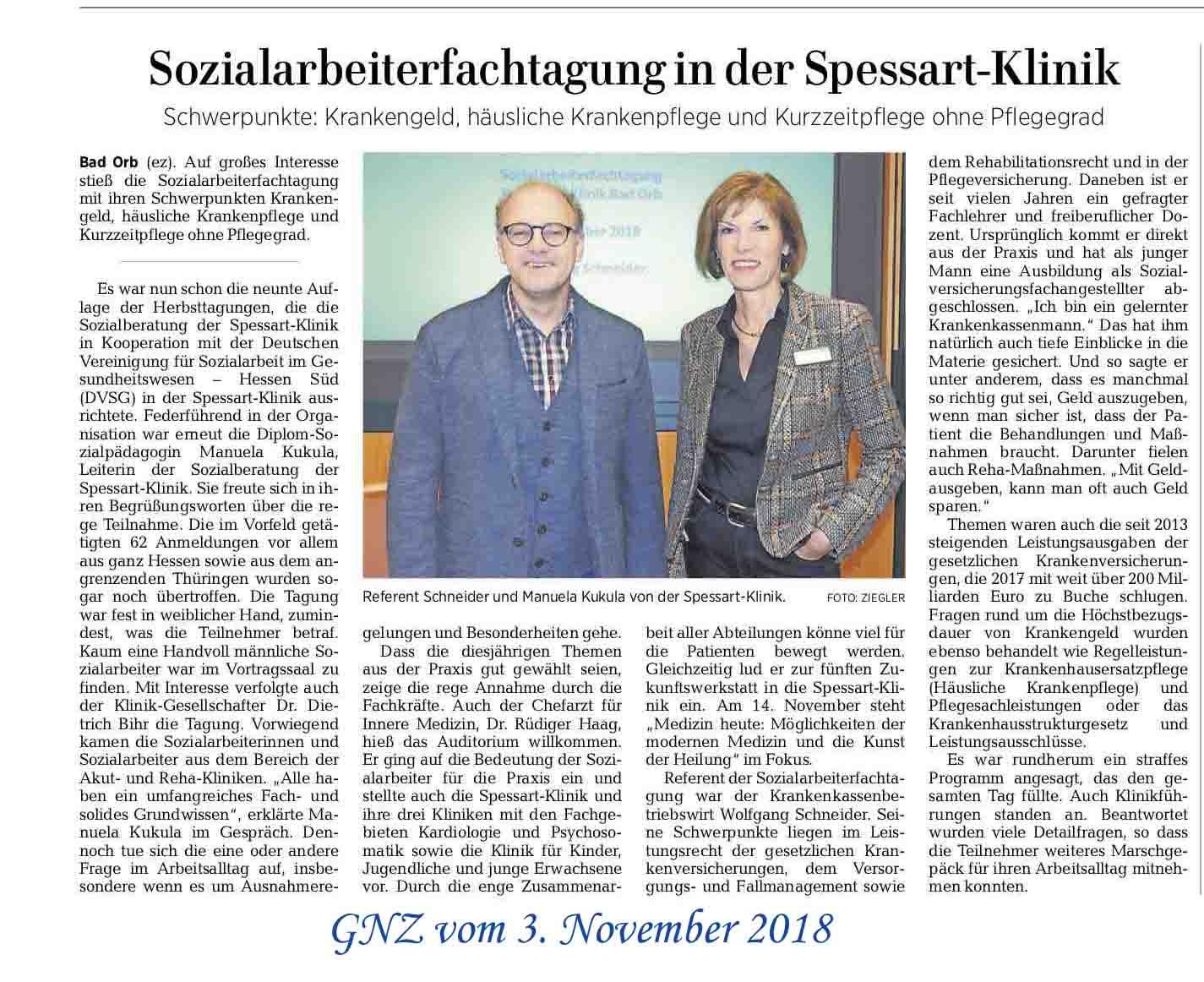 """mit freundlicher Genehmigung von """"Gelnhäuser Neue Zeitung"""" vom 03.11.2018"""